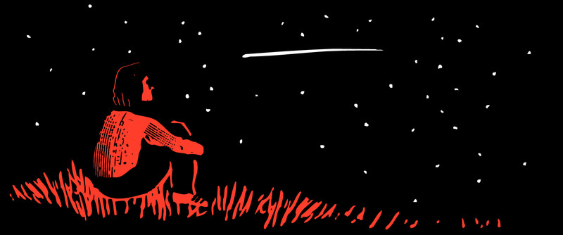 Illustration of a girl sitting in the grass, looking at a shooting star.