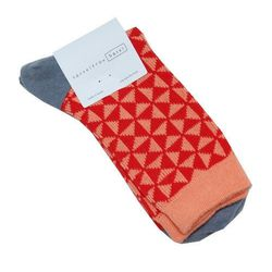 """<strong>Hansel From Basel</strong> Tile Crew Coral socks, <a href=""""http://miramirasf.com/collections/this-just-in/products/hansel-from-basel-tile-crew-coral"""">$17</a> at Mira Mira"""