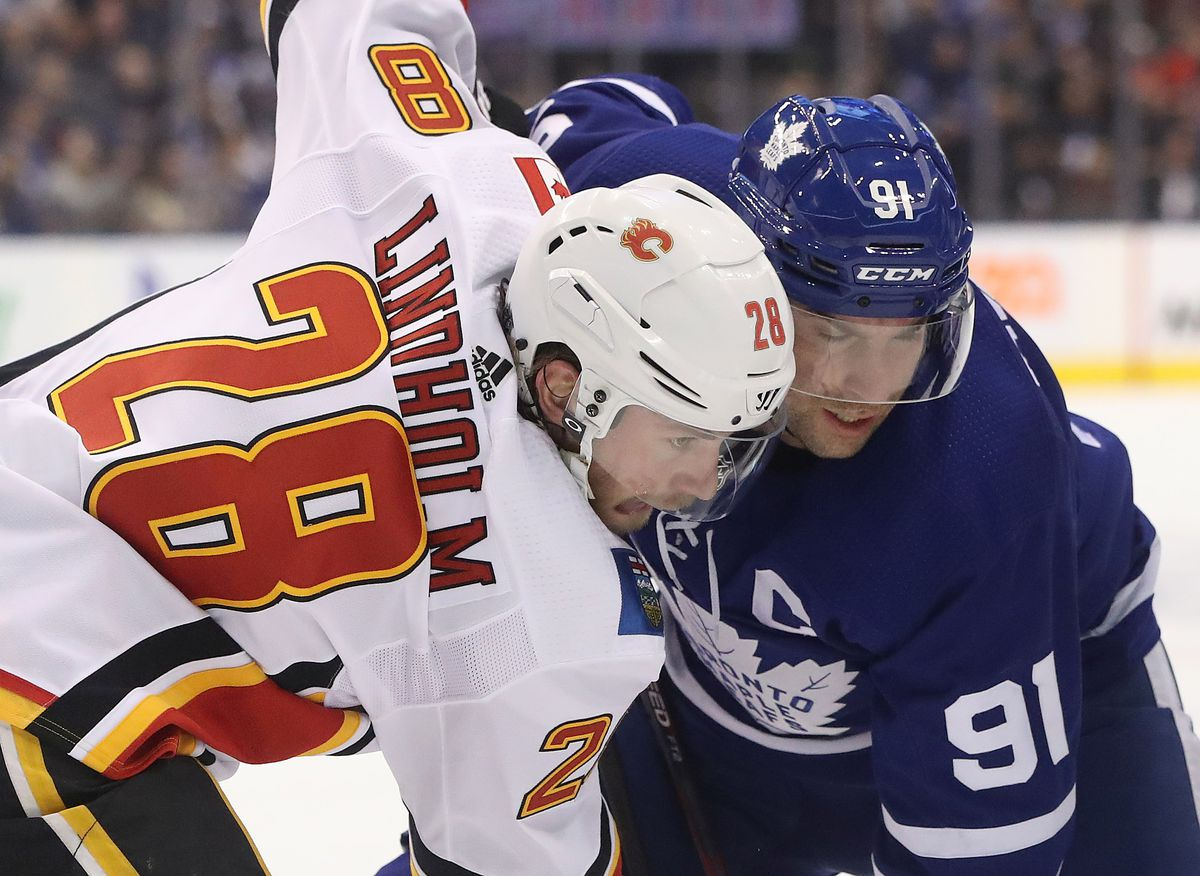 Toronto Maple Leafs play the Calgary Flames