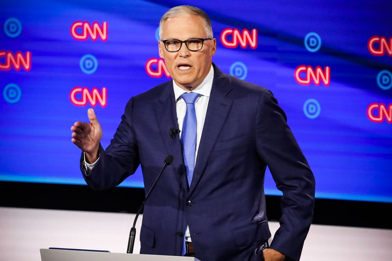 Washington Gov. Jay Inslee speaks during the second of two Democratic presidential primary debates on July 31, 2019.