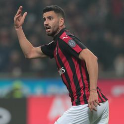 Mateo Musacchio of AC Milan celebrates his goal during the Serie A match between AC Milan and FC Internazionale at Stadio Giuseppe Meazza on March 17, 2019 in Milan, Italy.