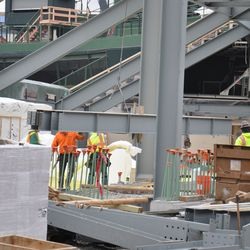 Temporary stairs to the center-field TV camera booth visible in the background -