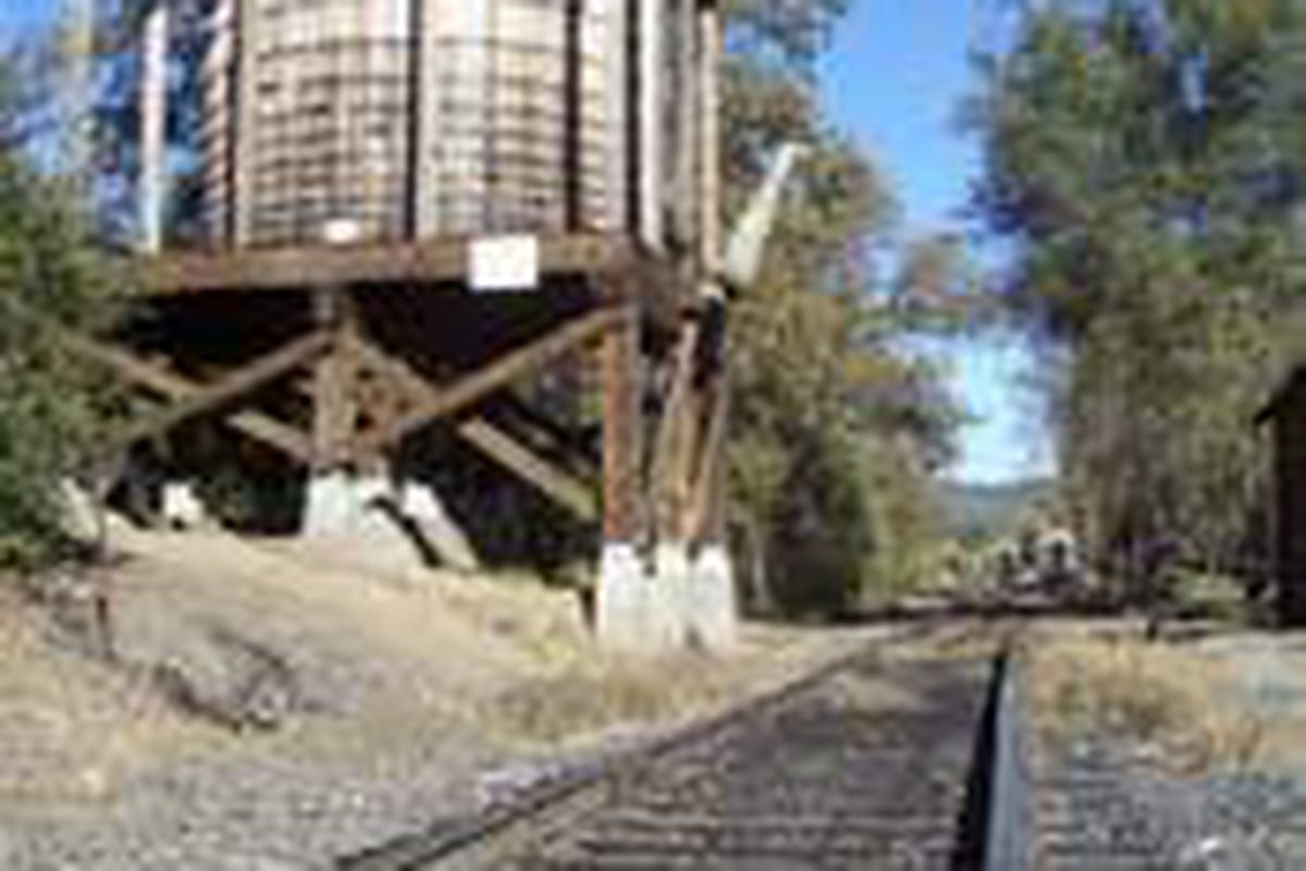 """This water tower at Railtown 1897 State Historic Park is a re-creation of one used for the 1960s TV sitcom """"Petticoat Junction."""""""