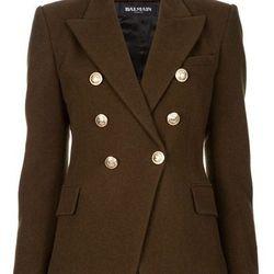 "<b>Balmain</b> green double-breasted jacket, was $3,030, now <a href=""http://www.farfetch.com/shopping/women/balmain-military-jacket-item-10100980.aspx"">$1,515</a>."