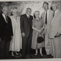 """Jesse Evans Smith, Joseph Fielding Smith, Cecil B. DeMille, Emma Ray Riggs McKay, artist Arnold Friberg, and LDS Church President David O. McKay, at the Centre Theatre in Salt Lake City, Utah. The event was termed a """"sneak preview"""" and occurred on Aug. 2, 1956, more than a month prior to the film's national release on Oct. 5."""