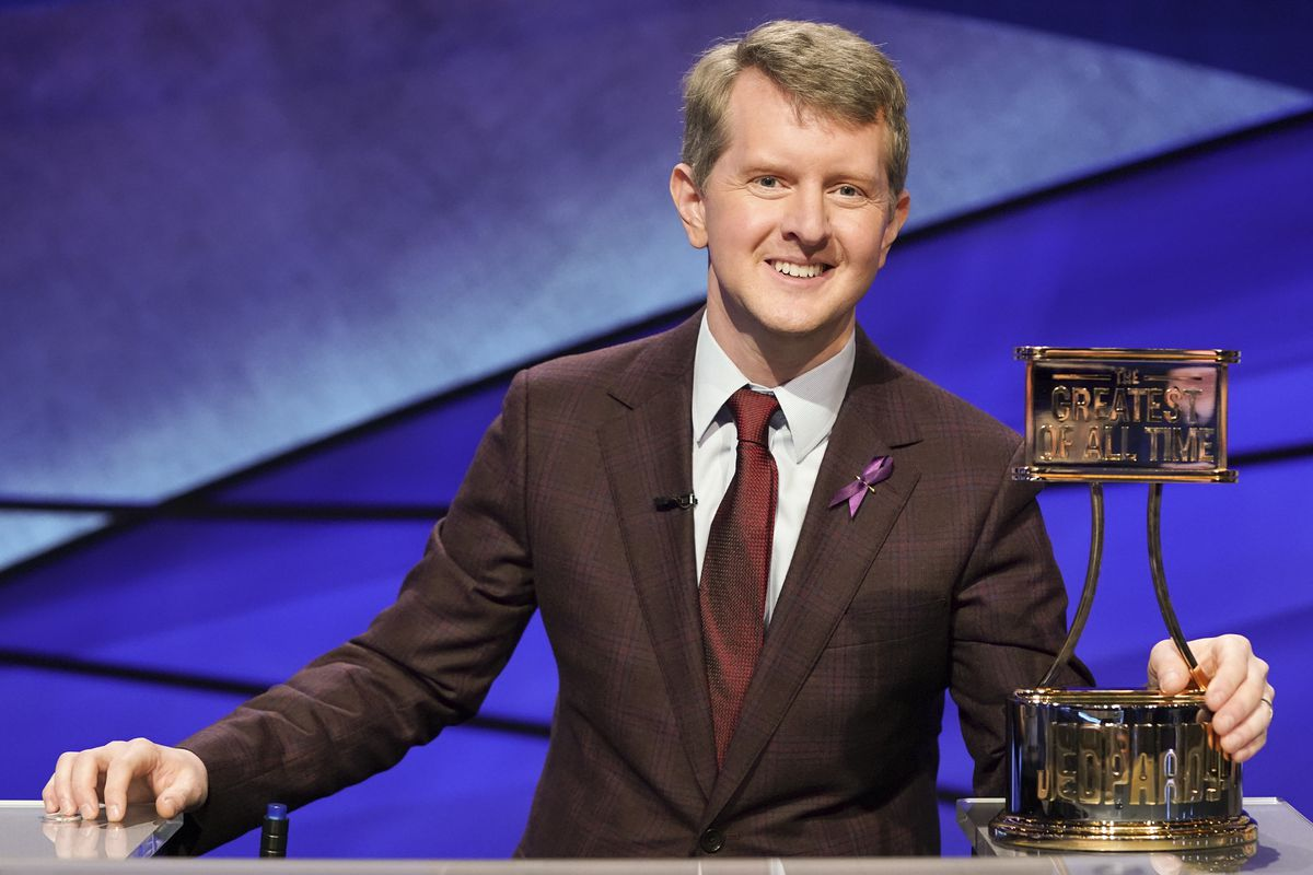 """This image released by ABC shows contestant Ken Jennings with a trophy on """"Jeopardy! The Greatest of All Time."""" """"Jeopardy!"""" ratings have dropped since Ken Jennings stopped hosting."""