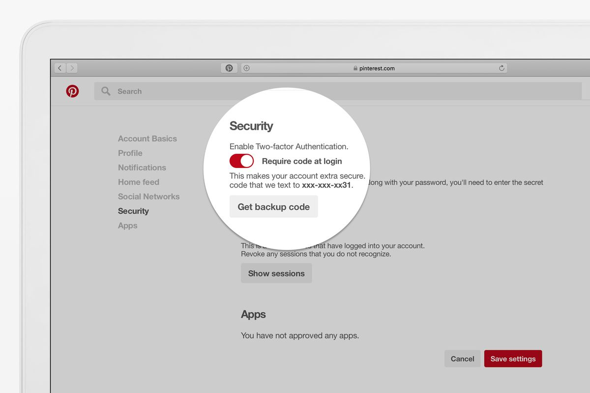 Image result for Two-Factor Authentication on your Pinterest account