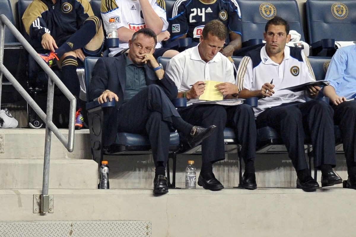 CHESTER, PA- SEPTEMBER 07: Coach Peter Nowak (L) of the Philadelphia Union sits in the bench area during the game against the New England Revolution at PPL Park on September 7, 2011 in Chester, Pennsylvania. (Photo by Drew Hallowell/Getty Images)