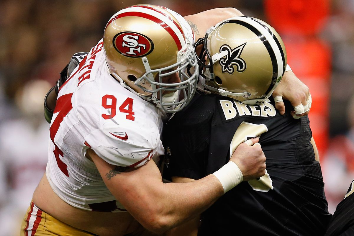 One of five second half sacks by the Niners defense.
