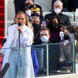 Jennifer Lopez sings during the inauguration of U.S. President-elect Joe Biden on the West Front of the U.S. Capitol on January 20, 2021 in Washington, DC. During today's inauguration ceremony Joe Biden becomes the 46th president of the United States.