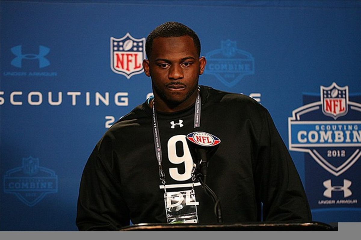 Feb 25, 2012; Indianapolis, IN, USA; Missisippi State defensive lineman Fletcher Cox speaks at a press conference during the NFL Combine at Lucas Oil Stadium. Mandatory Credit: Brian Spurlock-US PRESSWIRE