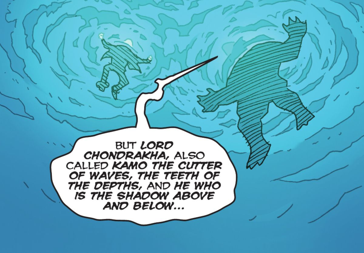 """""""Lord Chondrakha, also called Kamo the Cutter of the Waves, the Teeth of the Depths, and He Who Is the Shadow Above and Below..."""" explains King Shark to the person floating in the water with him in Suicide Squad: King Shark #1 (2021)."""