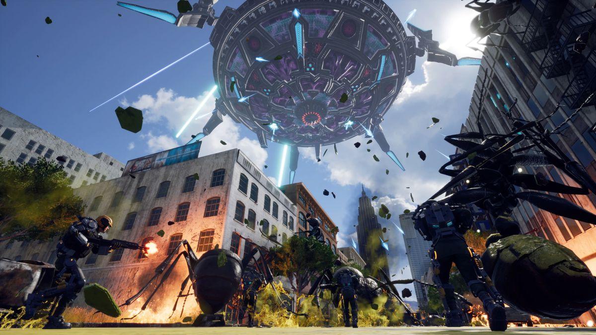 Earth Defense Force: Iron Rain - UFO attacks city