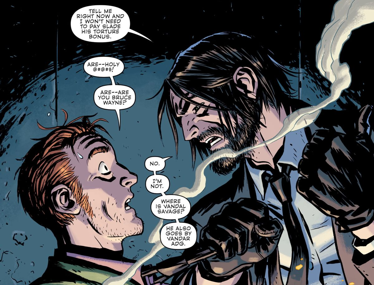 An alternate timeline's Bruce Wayne, with a beard, shaggy hair, a black suit, thin black tie, and gloves — he looks a lot like John Wick is what I'm saying — interrogates the Riddler in Batman Universe #6, DC Comics (21019).