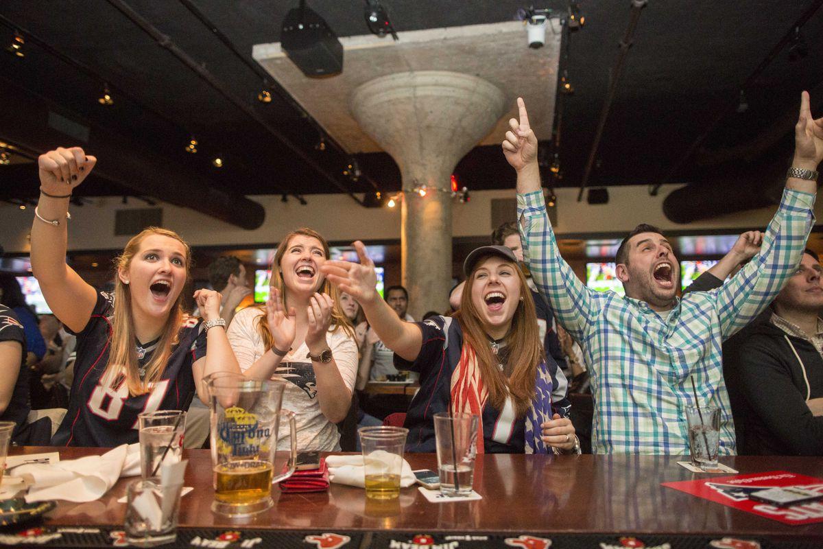 Patriots Fans Gather To Watch Super Bowl XLIX, New England Vs. Seattle