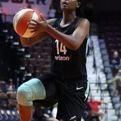 The Los Angeles Sparks take on the New York Liberty in a WNBA preseason game at Mohegan Sun Arena in Uncasville, CT on May 8, 2018.
