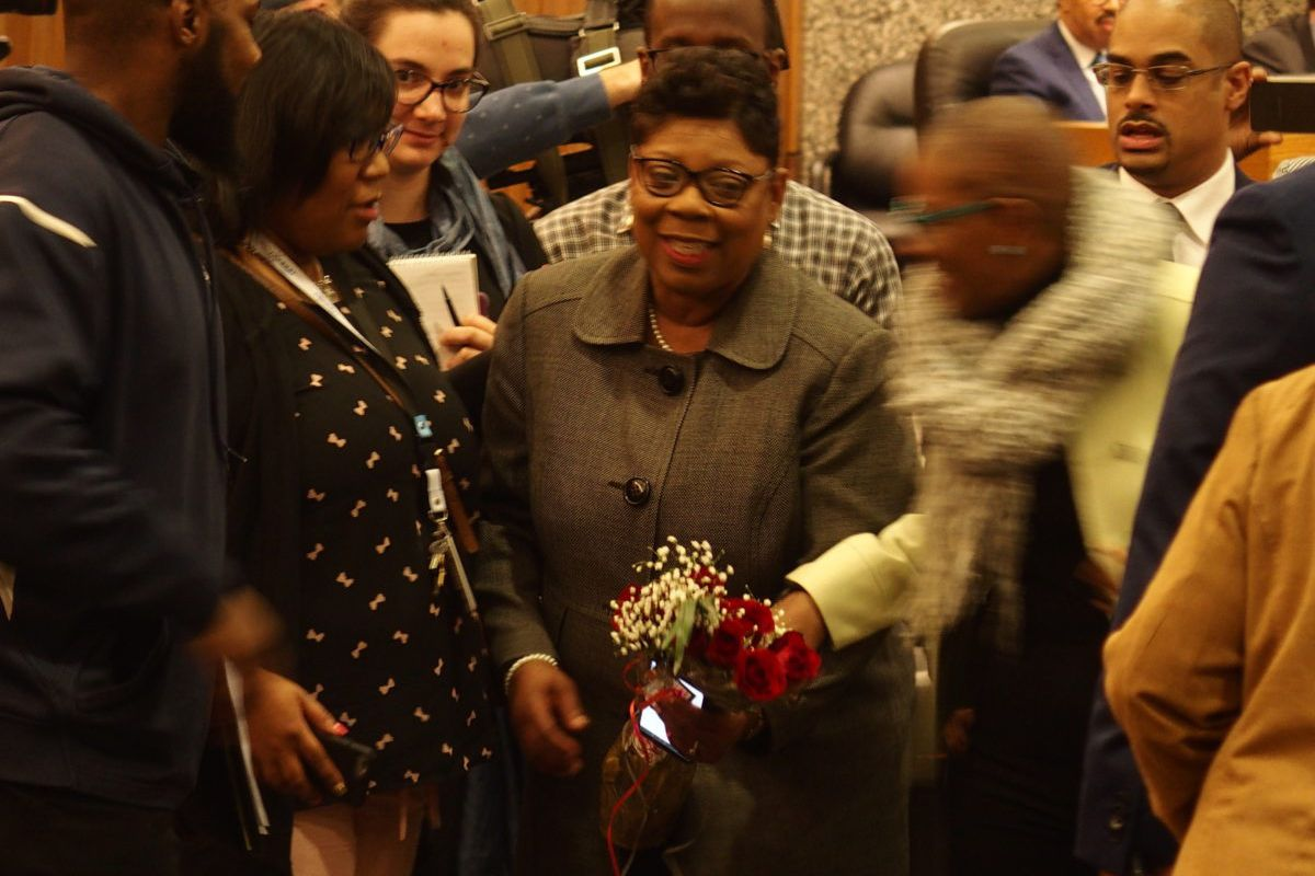 Althea Greene, center holding flowers, is the newest member of the Shelby County Schools board.