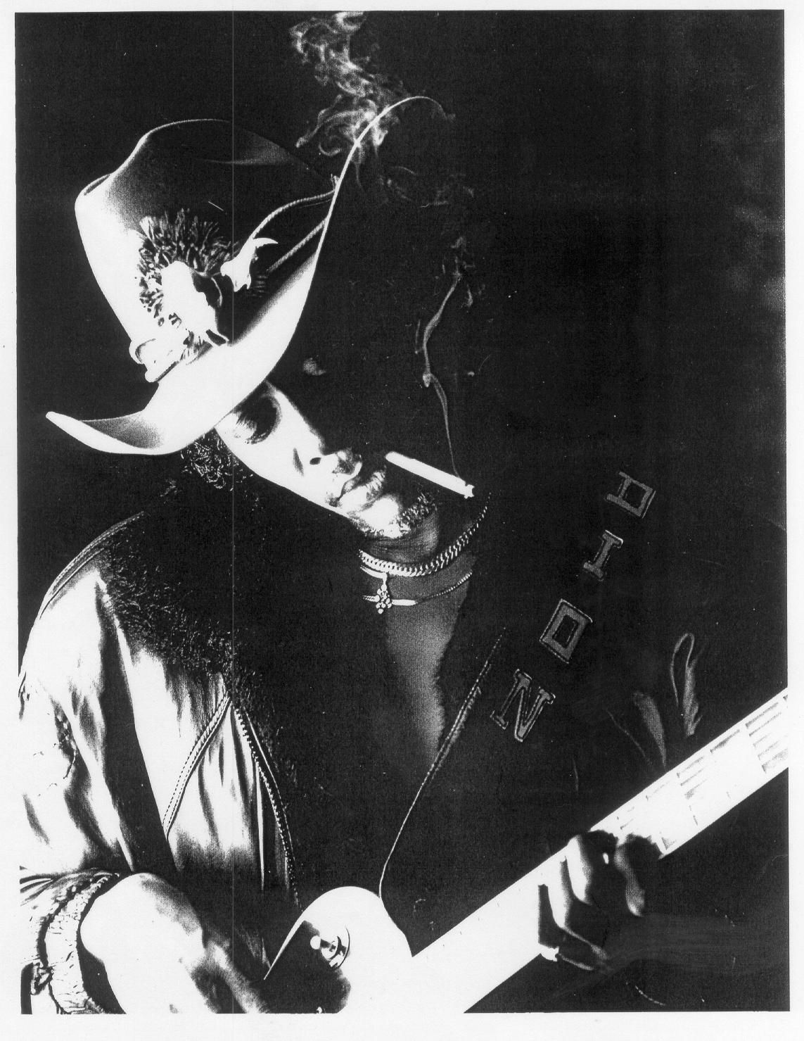 Blues guitarist Dion Payton in his trademark cowboy hat.