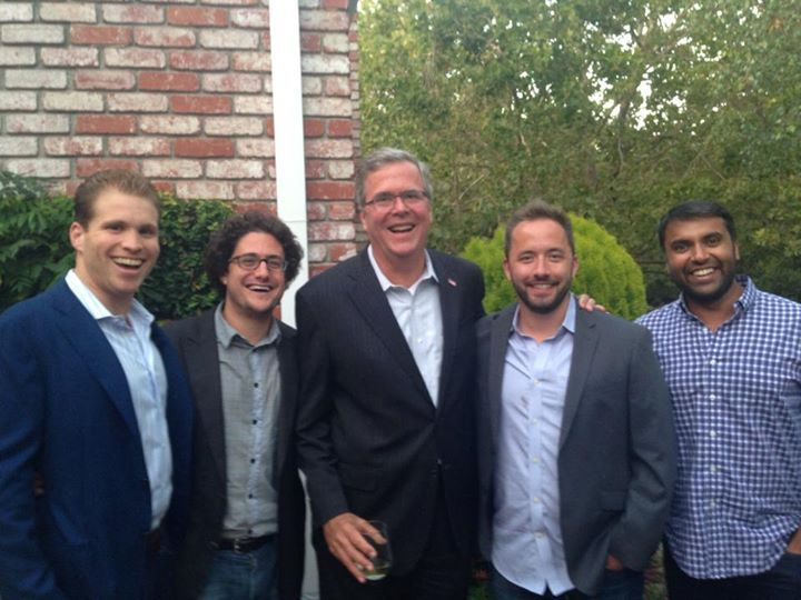 Dropbox's Drew Houston, CFO Sujay Jaswa and Palantir Technologies co-founder Joe Lonsdale pose with Green and former Florida governor Jeb Bush in August.