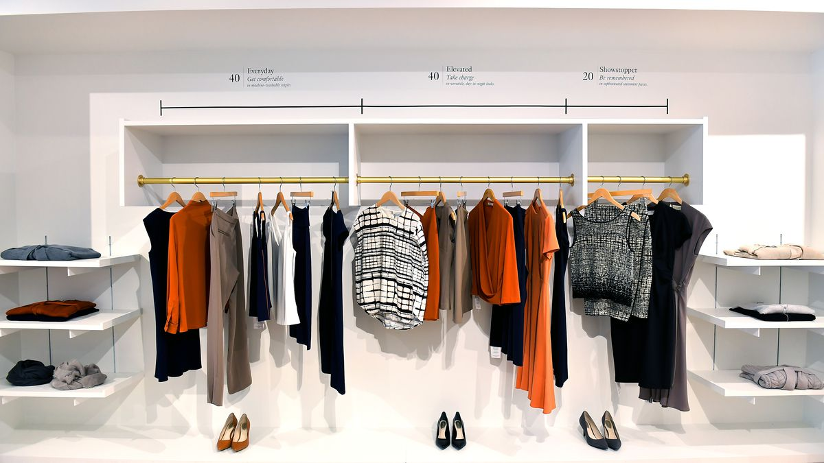 The showroom of MM.Lafleur, which sells professional attire for women. DACA recipient Nejvi Bejko works as a showroom stylist for the apparel company.