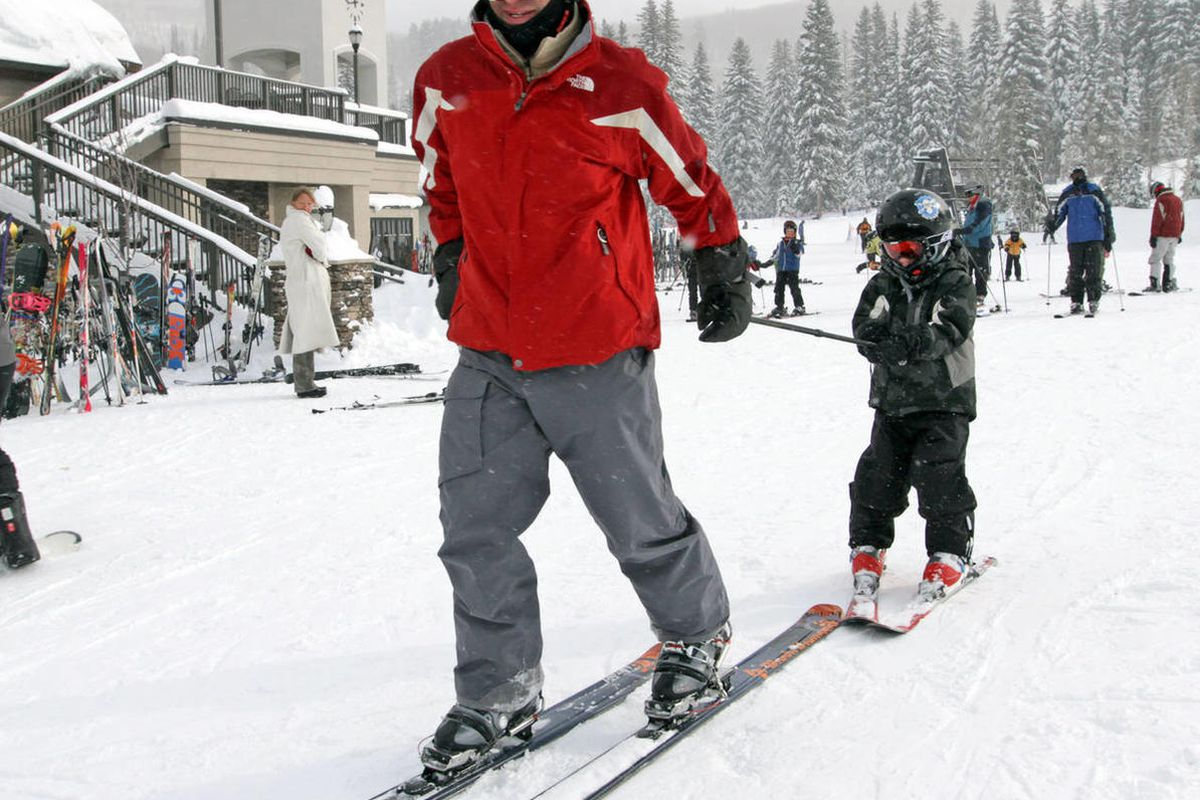 Jon Haftel and his 6-year-old son,Jackson, Colorado, enjoy a day of skiing at Solitude Ski Resort in Big Cottonwood Canyon.   December 31, 2010.  Michael Brandy, Deseret News.