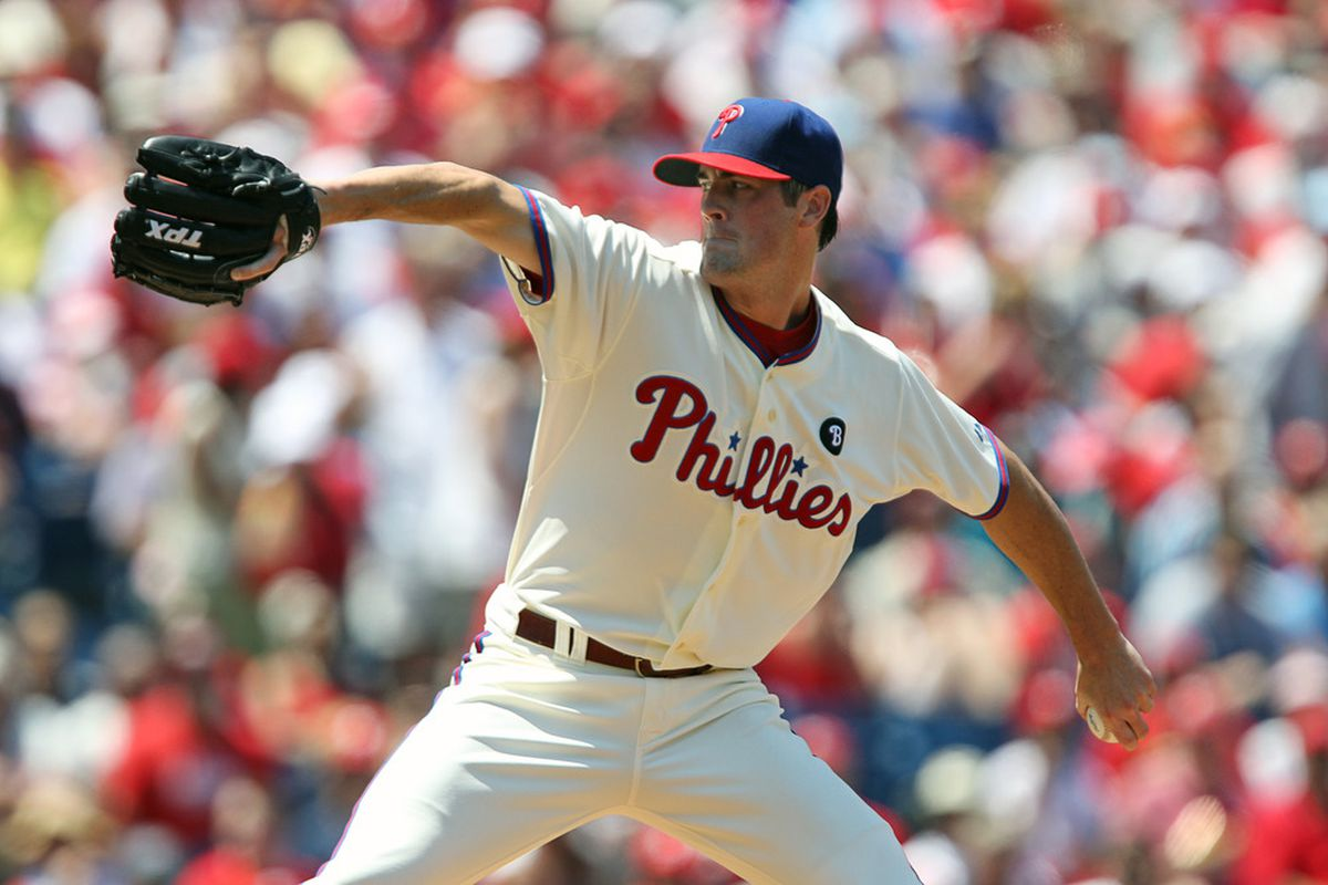 Cole Hamels, presumably not in a crazy-making amount of pain. (Photo by Hunter Martin/Getty Images)