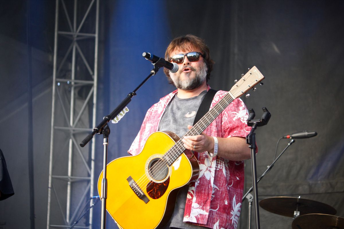 A photo of Jack Black performing Sunday as part of Tenacious D.