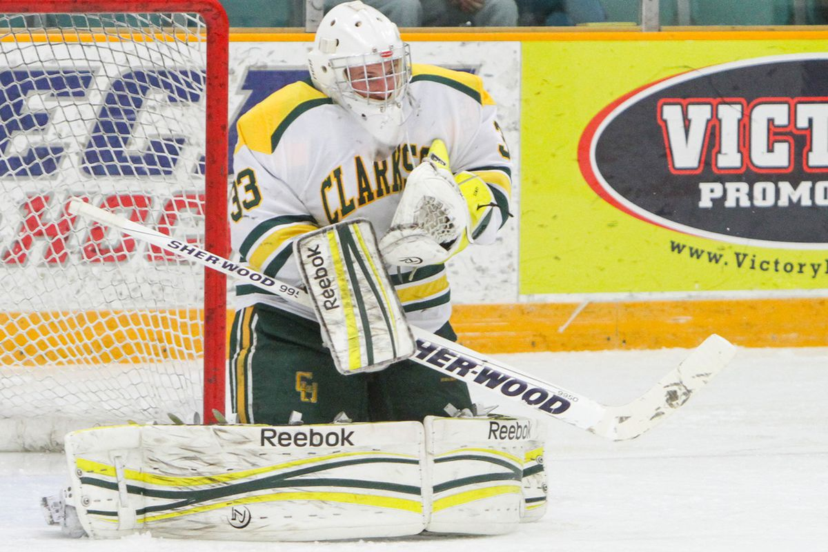 Clarkson sophomore goaltender Greg Lewis was credited with the win in the Golden Knights 4-3 triumph at Brown.