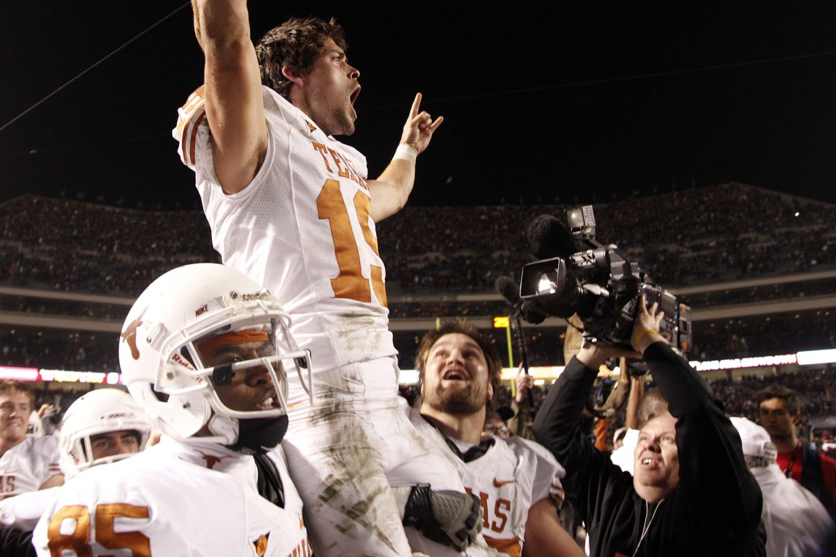 Justin Tucker after the game-winning kick in 2011