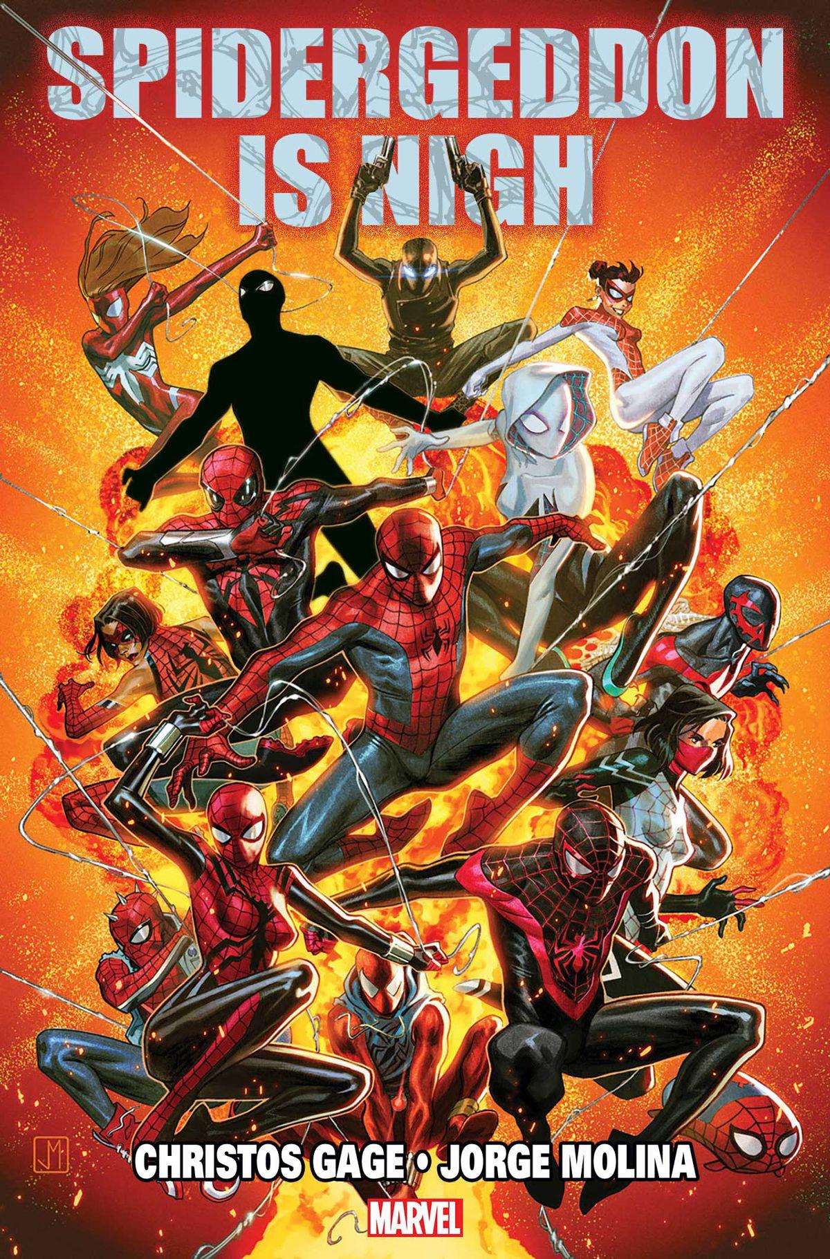 A teaser image for Marvel Comicsâ?? Spidergeddon (2018).