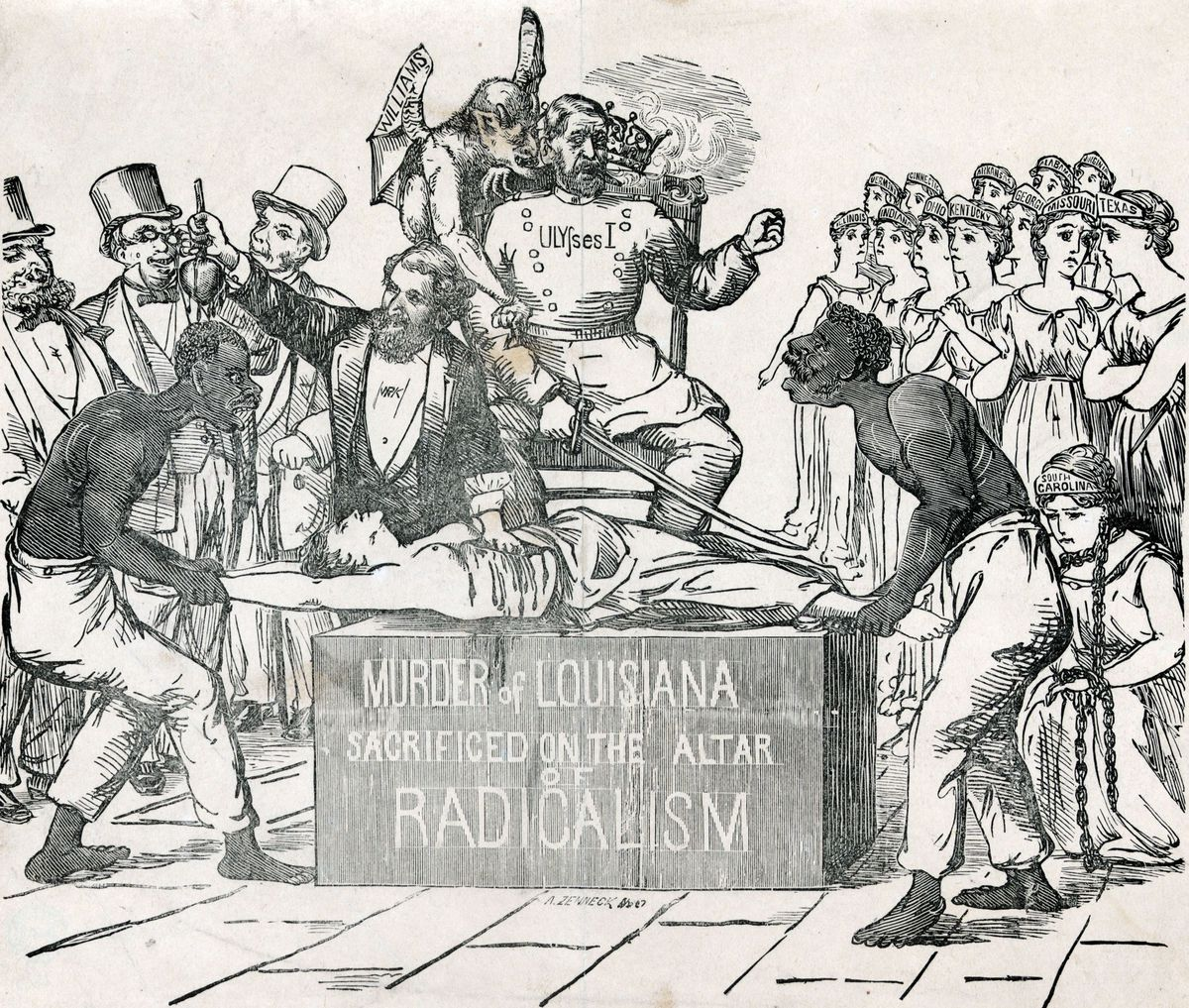 This cartoon is a white Democrat's look at the 1872 election in Louisiana: black Americans as slavish accessories to a monarchical (therefore illegitimate) federal government.