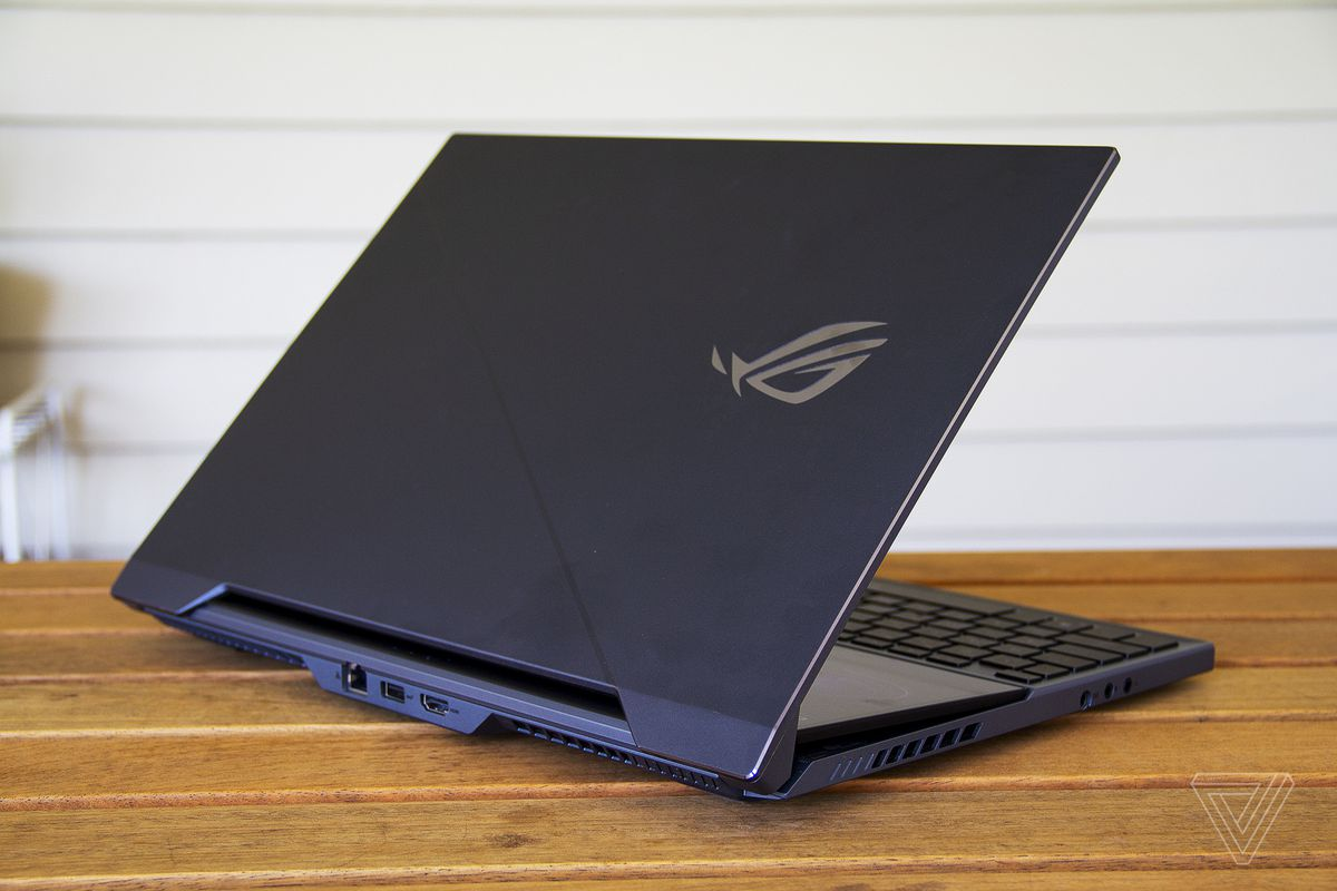 The Asus ROG Zephyrus Duo 15 half open from the back.