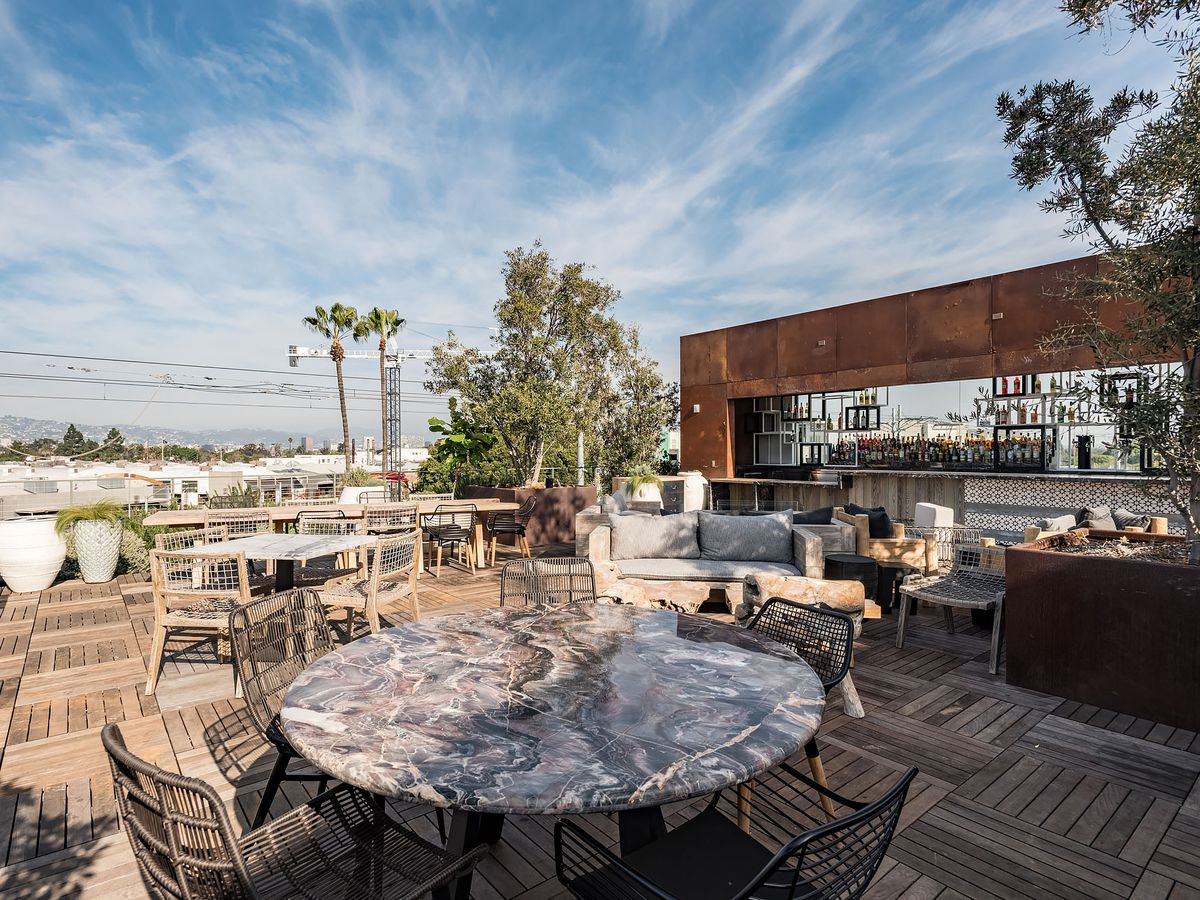 A sprawling rooftop restaurant with big views of the city.