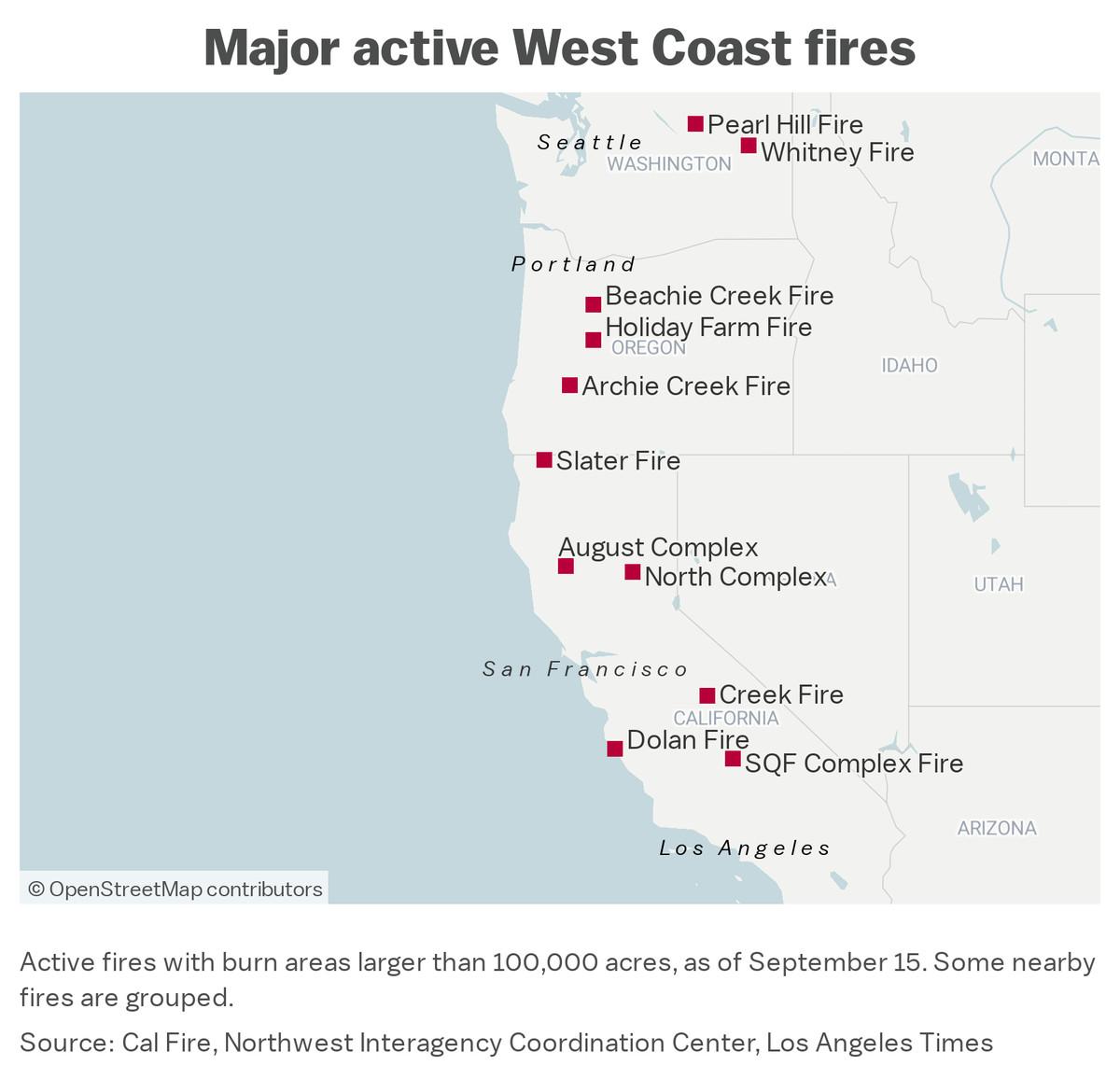 "Map: ""Major active West Coast fires"""