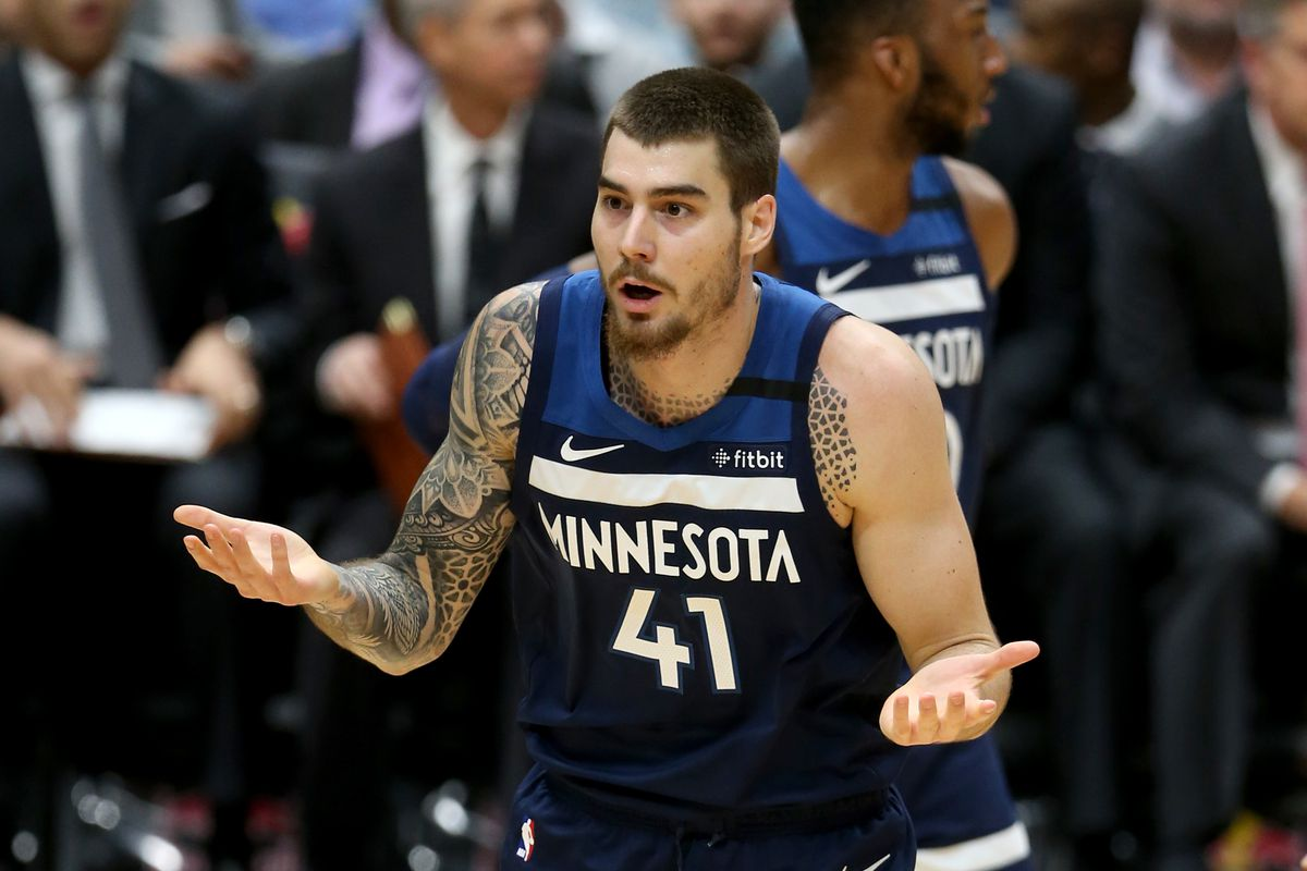 Minnesota Timberwolves forward Juan Hernangomez gestures after being called for a foul against the New Orleans Pelicans at the Smoothie King Center.