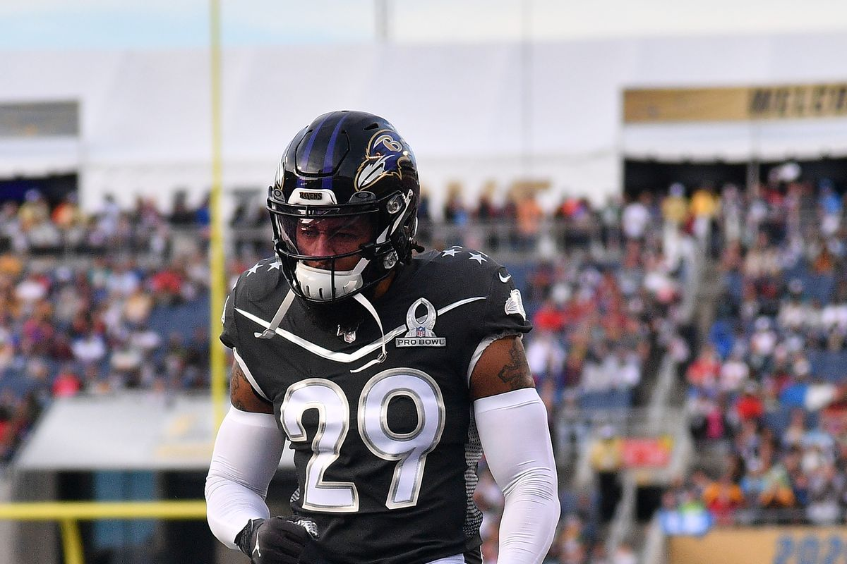Earl Thomas of the Baltimore Ravens in action during the 2020 NFL Pro Bowl at Camping World Stadium on January 26, 2020 in Orlando, Florida.