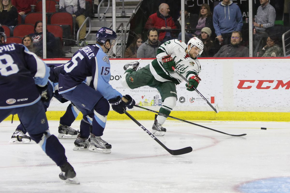 Kyle Rau (42) unleashes a shot in Iowa's 4-2 loss to the Ads on Nov. 28th  Ted Sandeen/Iowa Wild