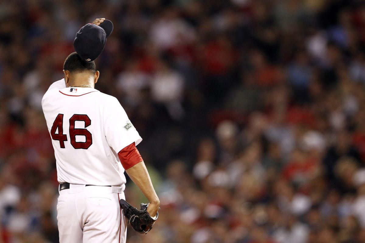 Aug 23, 2012; Boston, MA, USA; Boston Red Sox relief pitcher Franklin Morales (46) reacts during the third inning of a game against the Los Angeles Angels at Fenway Park.  Mandatory Credit: Mark L. Baer-US PRESSWIRE