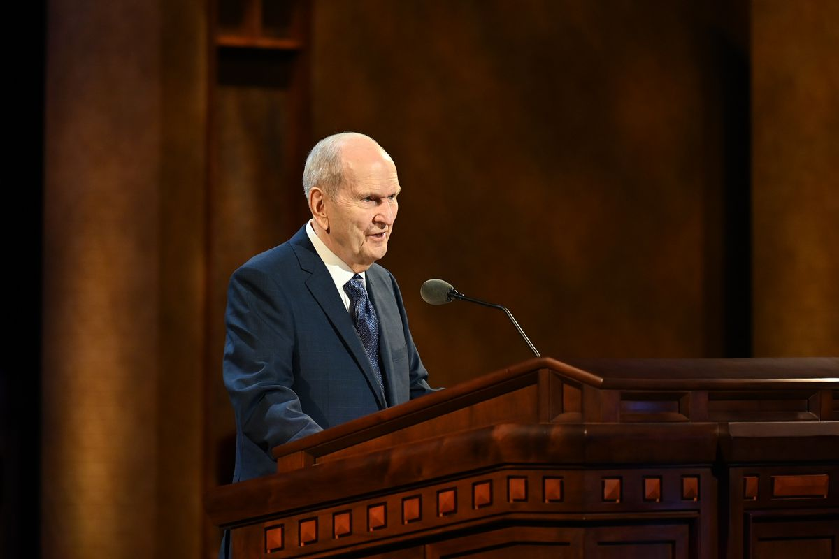 President Russell M. Nelson speaks during the Sunday morning session of The Church of Jesus Christ of Latter-day Saints' 191st Annual General Conference on April 4, 2021. In the Sunday afternoon session, President Nelson announced plans to build 20 new temples, the most ever announced at one time.