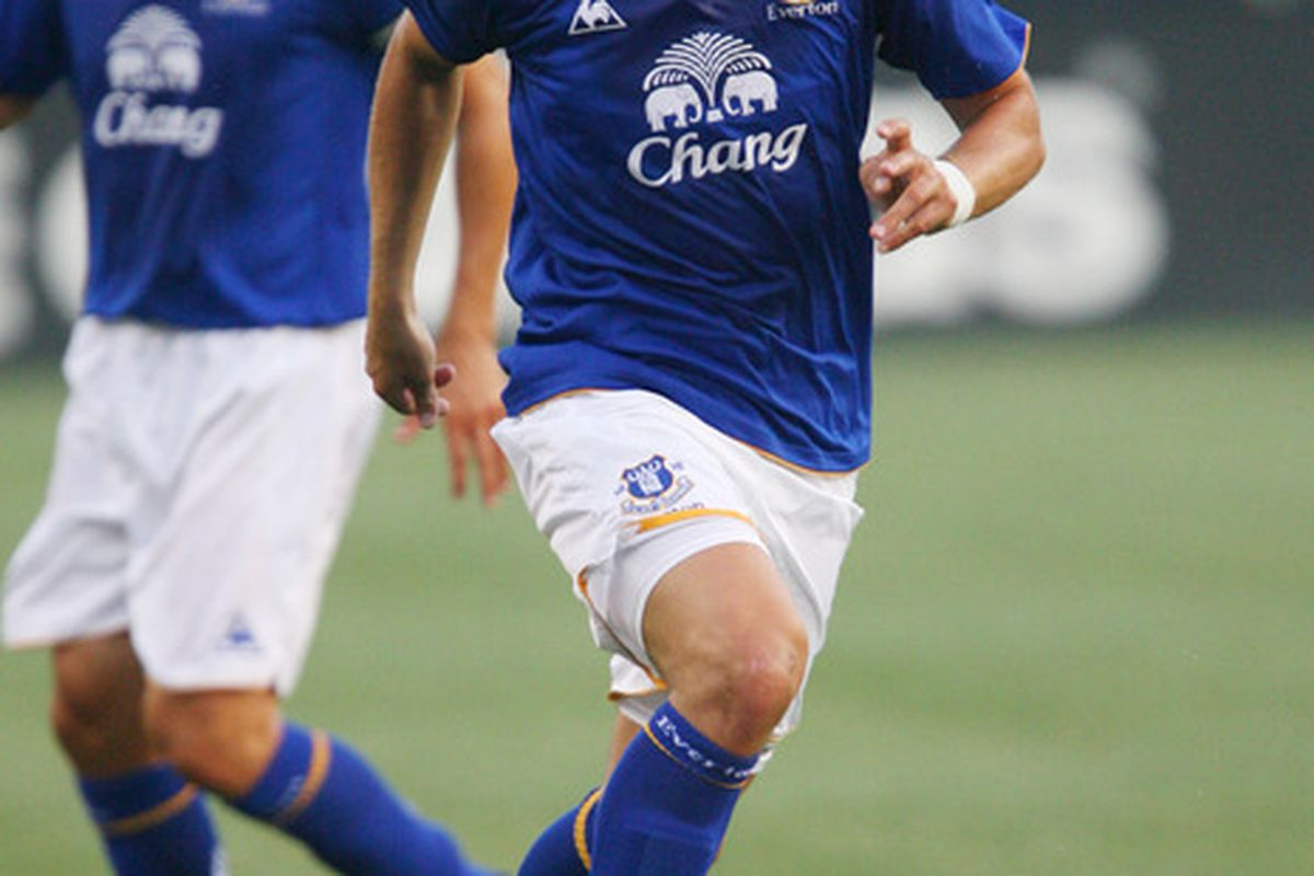 CHESTER, PA - JULY 20: Midfielder Diniyar Bilyaletdinov #7 of Everton controls the ball during a game against the Philadelphia Union at PPL Park on July 20, 2011 in Chester, Pennsylvania. The Union won 1-0.  (Photo by Hunter Martin/Getty Images)