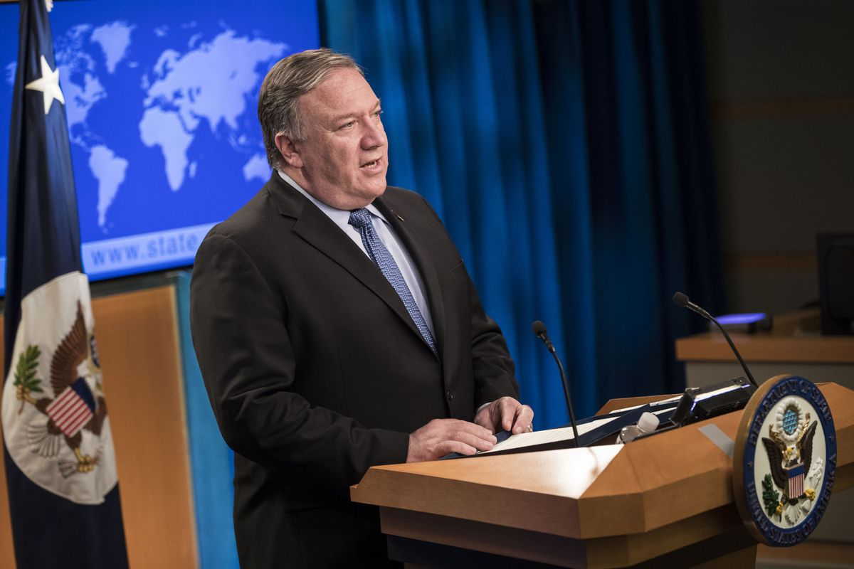 Secretary of State Mike Pompeo delivers remarks to the press about the 2018 International Religious Freedom Annual Report at the State Department on June 21, 2019 in Washington, DC.