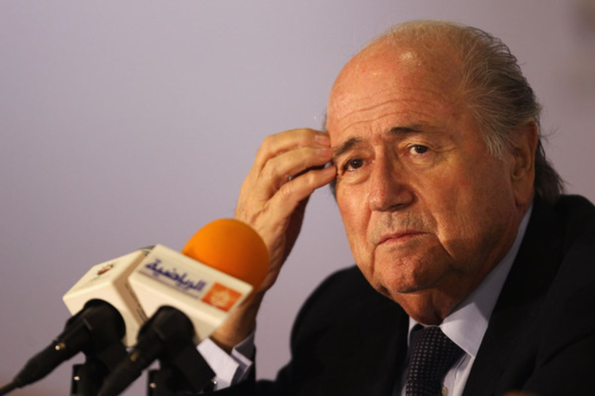 MUSCAT OMAN - DECEMBER 09:  President of FIFA Jospeh Sepp Blatter attends a press conference with the Oman Football Association at the Main Press Centre Al-Musannah Sports City on December 9 2010 in Muscat Oman.  (Photo by Bryn Lennon/Getty Images)