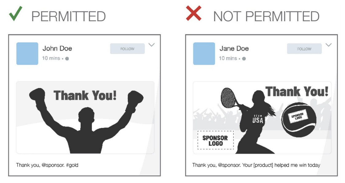 This ad shows that Team USA branded apparel isn't allowed in thank you posts to sponsors.
