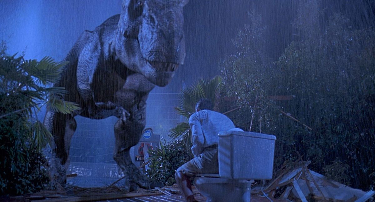 a T. rex prepares to eat a lawyer in Jurassic Park