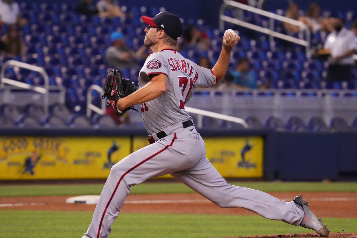 Max Scherzer #31 of the Washington Nationals delivers a pitch against the Miami Marlins at loanDepot park on June 27, 2021 in Miami, Florida.