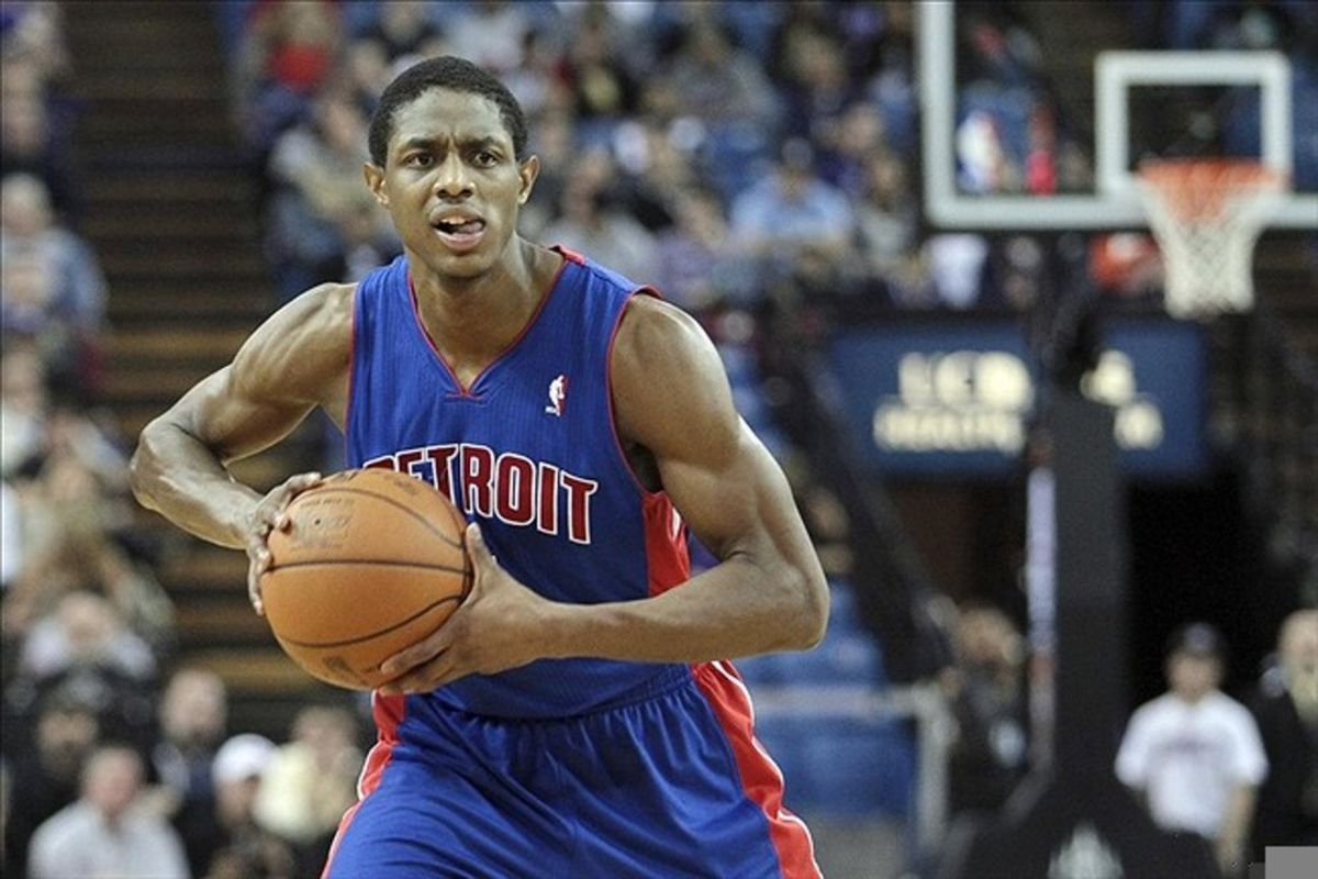 March 14, 2012; Sacramento, CA, USA; Detroit Pistons point guard Brandon Knight (7) controls the ball against the Sacramento Kings during the second quarter at Power Balance Pavilion. Mandatory Credit: Kelley L Cox-US PRESSWIRE