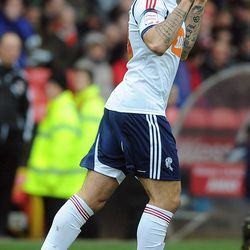 BRISTOL, ENGLAND - APRIL 13: Craig Davies of Bolton celebrates scoring the winning goal from the spot during the npower Championship match between Bristol City and Bolton Wanderers at Ashton Gate Stadium on April 13, 2013 in Bristol, England. (Photo by Ch