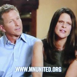 This frame grab taken from YouTube on Tuesday, Sept. 17, 2012 with permission of Minnesotans United for All Families shows John, left, and Kim Canny, Catholic Republicans from Savage, Minn., in a commercial in which they say they oppose a proposed constitutional amendment this November that would ban gay marriage. Like almost all the subjects of ads in favor of gay marriage, the Cannys are straight. Some gay activists question an ad strategy that rarely puts actual gay people on camera, saying it contradicts their philosophy of openness and hasn't worked. But political strategists say they need to win over moderates and can't do it by making them uncomfortable.