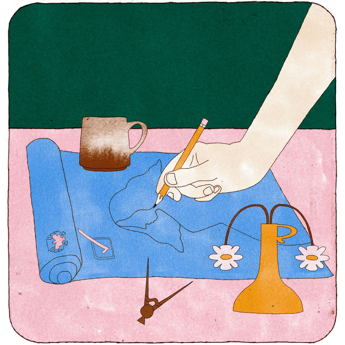 A cropped hand draws a woman on blue drafting paper. Illustration.