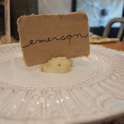 """Element 5: The Perfect Place Card. <a href=""""http://www.bhldn.com/shop-decor-stationery/kraft-paper-place-cards/productoptionids/922f0f92-c46d-403e-9cad-8deba6413eac"""">Kraft Paper Place Cards</a>, $12/set of 50"""